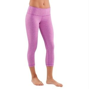 Lululemon Wunder Under Heathered Purple Crop